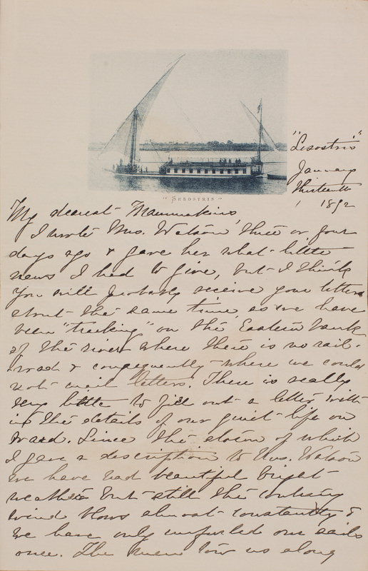 Letter from Emily Sibley Watson to her mother, Elizabeth Maria Tinker Sibley, January 13, 1893