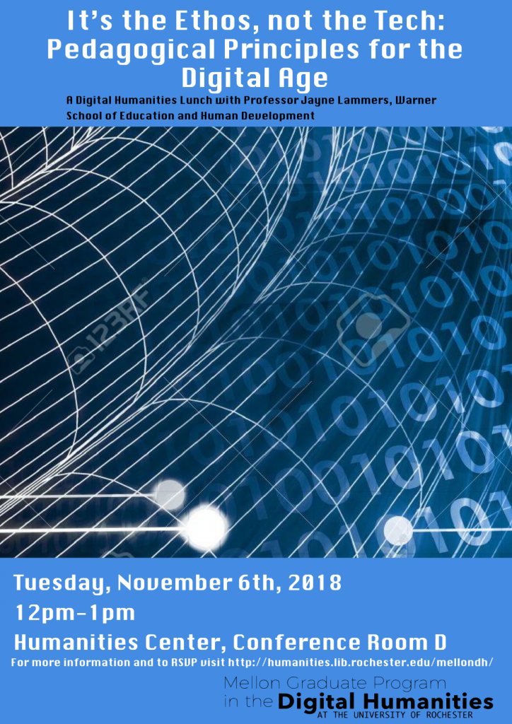 [DH Lunch] It's the Ethos, not the Tech: Pedagogical Principles for the Digital Age @ Humanities Center, Conference Room D | Rochester | New York | United States