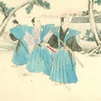 1343.Three samurai before a castle