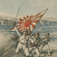 3155. Landing ashore and facing the enemy under a hail of bullets (artwork by Sakuzō Itō)