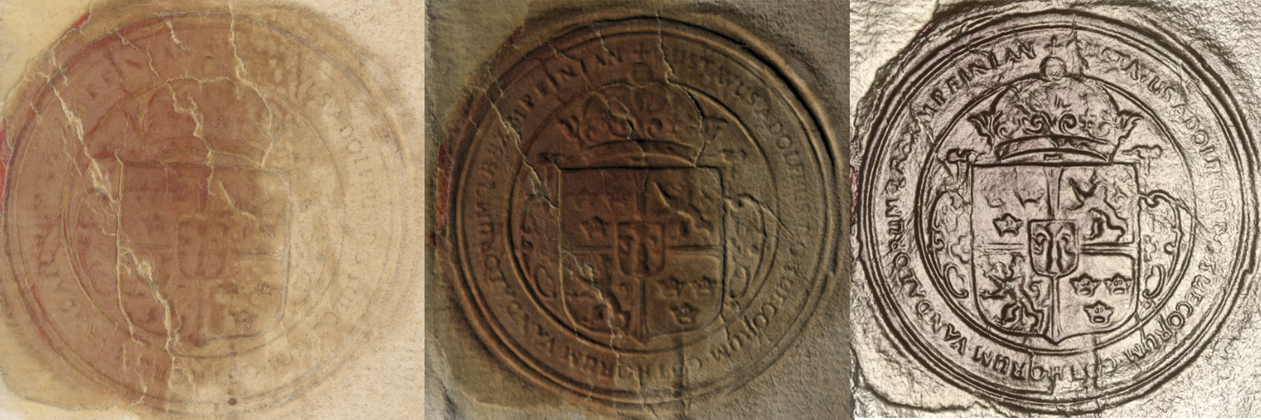 This version shows the original seal side-by-side with the ones rendered with RTI and the viewer.