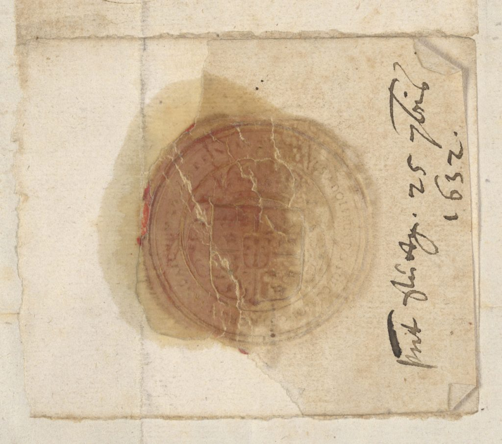 Digital image of a seal from a manuscript from 1632 held in RBSCP (without using RTI).