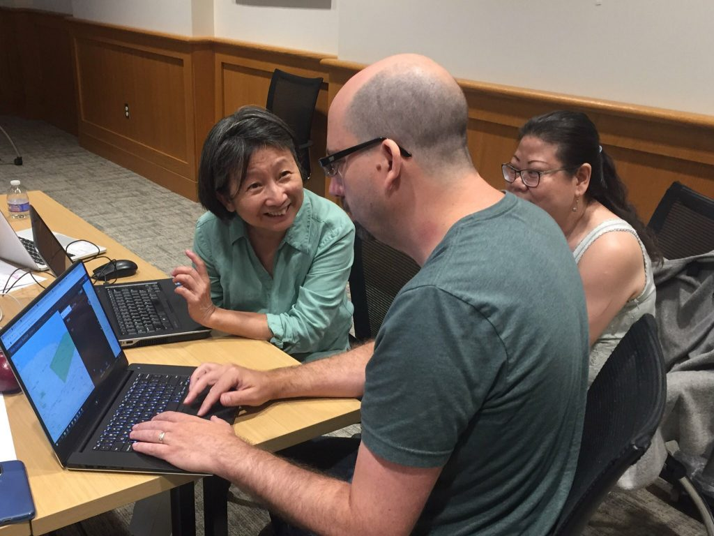 Image of faculty working with two library staff on a mapping project.