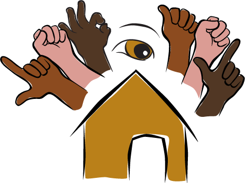ASL-LSF Sign Language App Logo with hands spelling (from left to right) LSF ASL over a sketch of a home