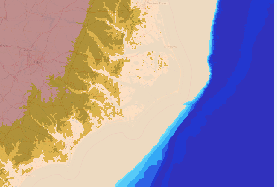 Outer Banks with -105m sea level