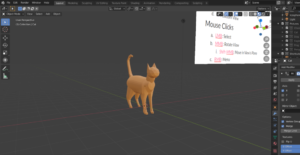 screenshot of the Blender user interface displaying a 3D-modeled cat.